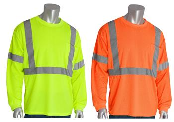 PIP 313-1300 ANSI Type R Class 3 Premium Mesh Long Sleeve T-Shirt, Hi Vis Lime Yellow or Hi Vis Orange