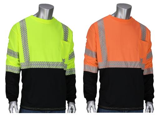 PIP 313-1375B Hi Vis ANSI Type R Class 3 Premium Mesh Long Sleeve T-Shirt, Black Bottom Front, Segmented Tape, Hi Vis Yellow or Hi Vis Orange