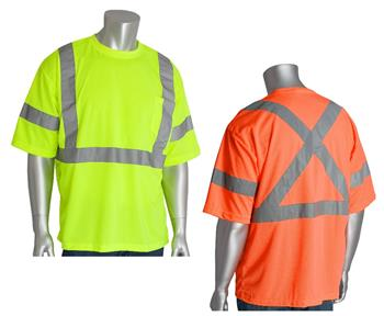 PIP 313-1400 CAN/CSA Z96 & ANSI Type R Class 3 Premium Mesh Short Sleeve T-Shirt, X on Back, Hi Vis Lime Yellow or Hi Vis Orange