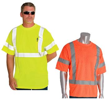 PIP 313-CNTSE ANSI Type R Class 3 Premium Mesh Short Sleeve T-Shirt, Hi Vis Yellow or Hi Vis Orange