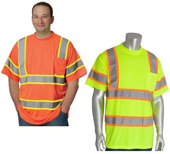 PIP 313-CNTSP Hi Vis ANSI Type R Class 3 Two-Tone Premium Mesh Short Sleeve T-Shirt, Hi Vis Yellow or Hi Vis Orange