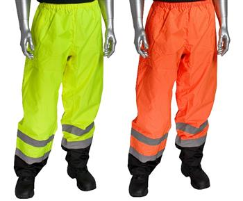 PIP 318-1757 Hi Vis ANSI/ISEA 107 Class E Overpant, Black Trim, Waterproof, Hi Vis Lime Yellow or Hi Vis Orange