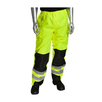 PIP 318-1771 Hi Vis ANSI/ISEA 107 Class E Ripstock Reinforced Overpant, Waterproof, Ripstop Polyester, Hi Vis Lime Yellow & Black