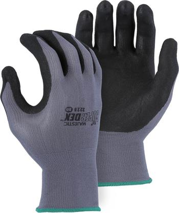 Majestic 3228 SuperDex Micro Foam Nitrile Palm & Finger Coated Gloves, 15-Gauge Liner, Breathable, Gray/Black
