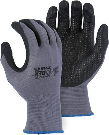Majestic 3228D SuperDex Micro Foam Nitrile Dotted Palm Gloves , Box/12 Pairs