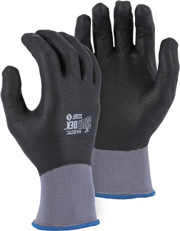 Majestic 3228F SuperDex Full Dip Micro Foam Nitrile Palm Gloves, 15 Gauge Nylon Shell, Box/12 Pairs