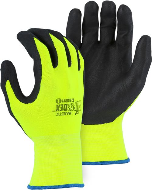 Majestic 3228HVY SuperDex Micro Foam Nitrile Palm & Finger Coated Gloves, 15-Gauge Liner, Breathable, Hi Vis Yellow/Black