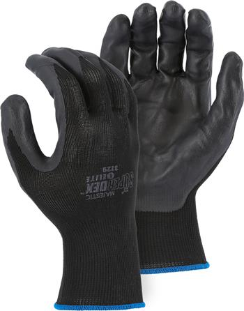 Majestic 3229 SuperDex Elite, Micro Foam Nitrile Palm & Finger Coated Gloves, 15-Gauge Liner, Breathable, Black/Black - Box/12 Pairs