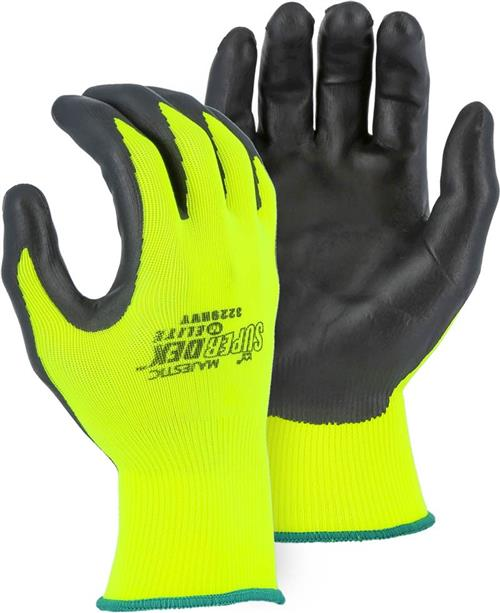 Majestic 3229HVY SuperDex Elite, Micro Foam Nitrile Palm & Finger Coated Gloves, 15-Gauge Liner, Breathable, Hi Vis Yellow/Black - Box/12 Pairs