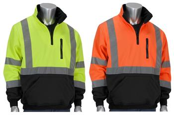 PIP 323-1330B ANSI Type R Class 3 Hi Vis 1/4 Zip Pullover Sweatshirt, Black Bottom, Water Resistant, Hi Vis Lime Yellow or Hi Vis Orange