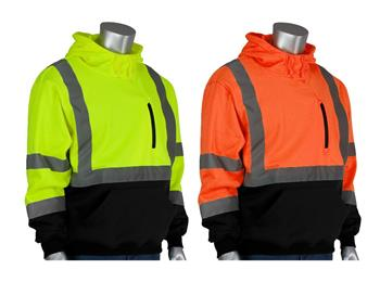 PIP 323-1350B ANSI Class 3 Hi Vis Pullover Hoodie Sweatshirt, Water Resistant, Hi Vis Lime Yellow or Hi Vis Orange