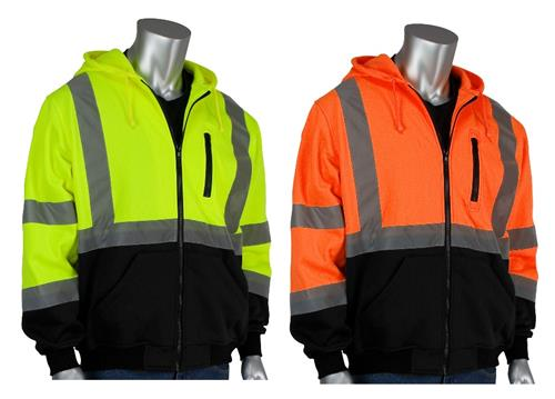 PIP 323-1370B ANSI Class 3 Hi Vis Full Zip Hoody Sweatshirt with Black Bottom & Water Resistant