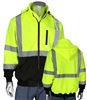 PIP 323-1385B ANSI Class 3 Hi Vis Full Zip Hooded Sweatshirt,  Black Bottom, Removable Hood