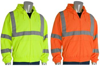 PIP 323-HSSE Hi Vis ANSI Type R Class 3 Hooded Sweatshirt, Hi Vis Lime Yellow or Hi Vis Orange