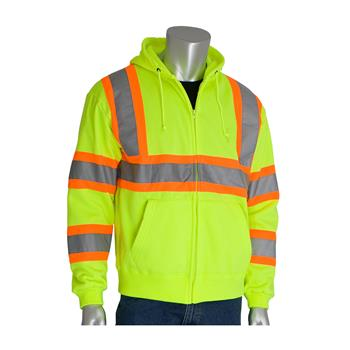 PIP 323-HSSP ANSI Class 3 Hi Vis Yellow Full Zip Hoody Sweatshirt with DOT Two Tone Tape