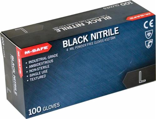 Majestic Glove 3273BK M-Safe Industrial Grade Disposable Black Nitrile Glove Powder Free 4 Mil Glove, Sold 20 Boxes / Case