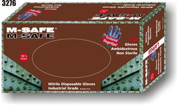 Majestic Glove 3276 M-Safe Industrial Grade Disposable Nitrile Glove Powder Free 5 - 6 Mil Glove, Sold 20 Boxes