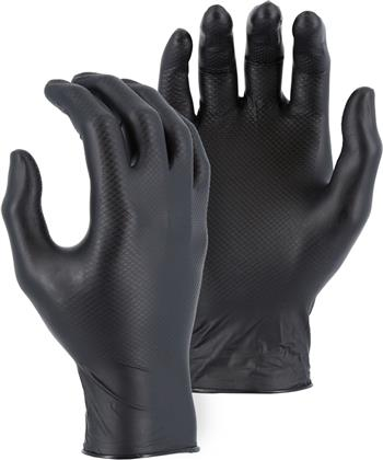 Majestic Glove 3276AK M-Safe Industrial Grade Disposable Black Nitrile Fish Scale Pattern Glove Powder Free 6 Mil Glove, Sold 20 Boxes / Case