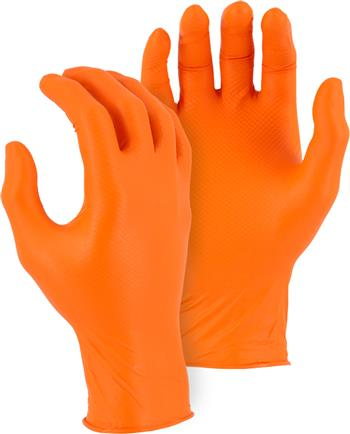 Majestic Glove 3276AO M-Safe Industrial Grade Disposable Orange Nitrile Fish Scale Pattern Glove Powder Free 6 Mil Glove, Sold 20 Boxes / Case