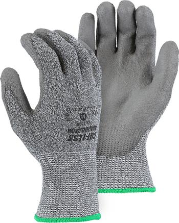 Majestic 33-1500 Cut-Less Annihilator Gloves, Grey Knit, Polyurethane Palm, Extra Long Cuff, Mineral Infused Fiber, Cut Level 5, Box/12 Pairs