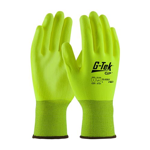 PIP 33-425LY G-Tek GP Hi-Vis Seamless Knit Polyester Glove with Polyurethane Coated Smooth Grip on Palm & Fingers - Box/12 Pairs