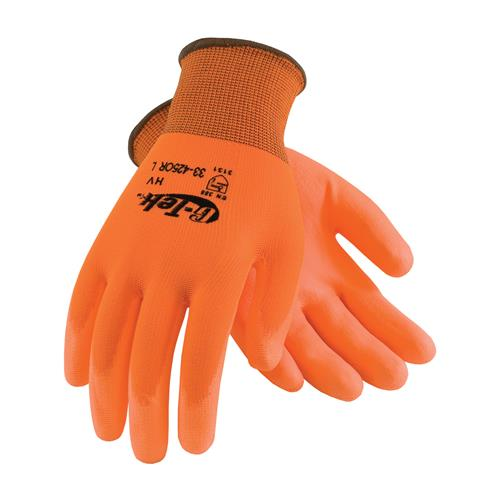 PIP 33-425OR G-Tek GP Hi-Vis Seamless Knit Polyester Glove with Polyurethane Coated Smooth Grip on Palm & Fingers - Box/12 Pairs