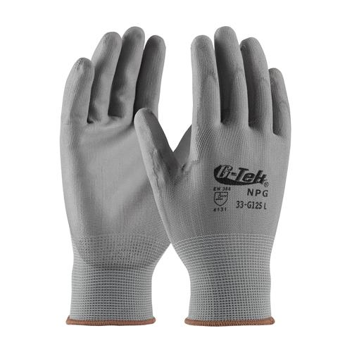 PIP 33-G125 G-Tek NPG Seamless Knit Nylon Glove with Polyurethane Coated Smooth Grip on Palm & Fingers - Box/12 Pairs