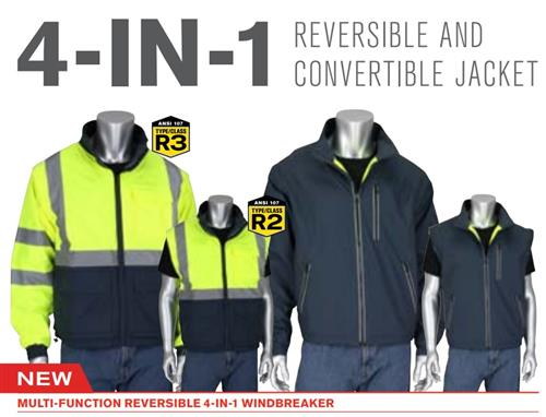PIP 333-1500-R ANSI Type R Class 3 4-in-1 Reversible Hi Vis Yellow, Gray Bottom Multi-Seasonal Windbreaker, Detachable Sleeves