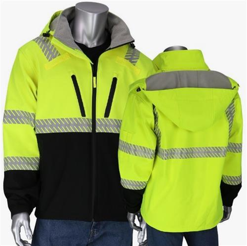 PIP 333-1550 Hi Vis Yellow Class 3 Ripstop Softshell Jacket with Black Bottom