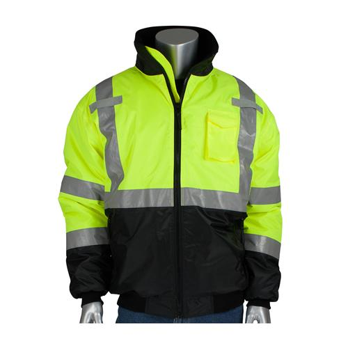 PIP 3423-1740 Class 3 Hi Vis Yellow Quilted Bomber Jacket