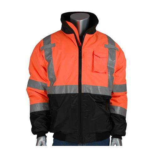 PIP 3423-1740 Class 3 Hi Vis Orange Quilted Bomber Jacket