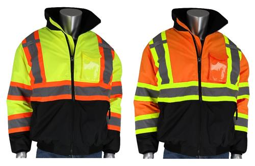 PIP 333-1745 ANSI Type R Class 3 Two-Tone Bomber Jacket with Black Bottom, Waterproof, Quilt Lined, Hi Vis Lime Yellow or Hi Vis Orange