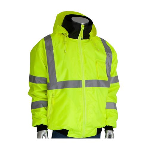 PIP 333-1762-LY ANSI Class 3 Bomber Jacket with Zip-Out Fleece Liner, Hi Vis Yellow