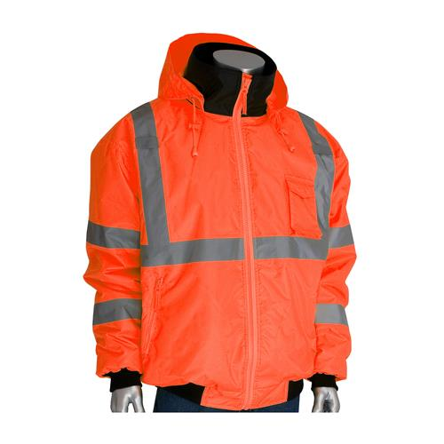 PIP 333-1762-OR ANSI Class 3 Bomber Jacket with Zip-Out Fleece Liner, Hi Vis Orange