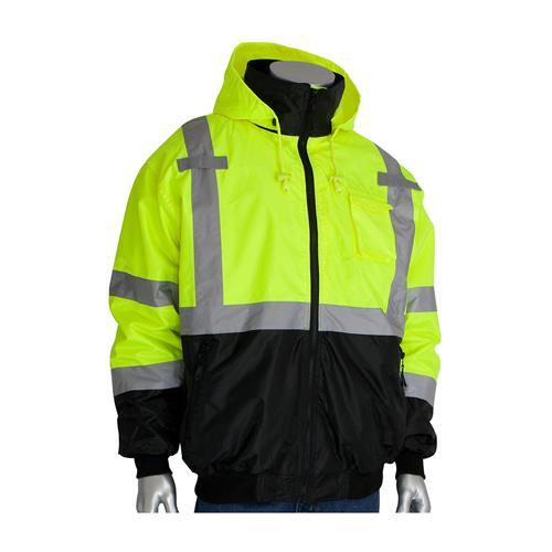 PIP 333-1766-LY ANSI Class 3 Bomber Jacket with Black Bottom, Zip-Out Fleece Liner, Hi Vis Yellow