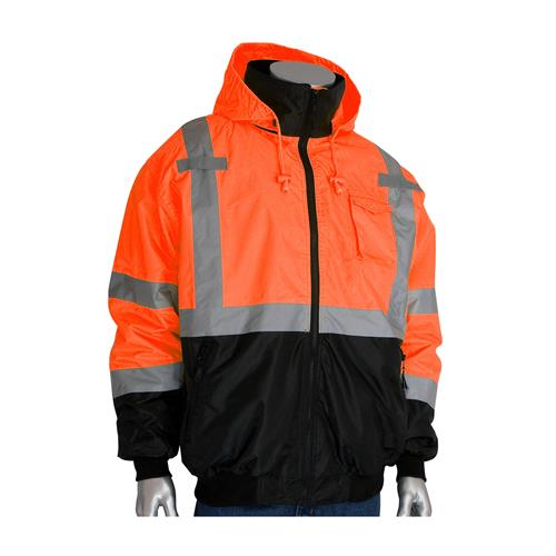 PIP 333-1766-OR ANSI Class 3 Bomber Jacket with Black Bottom, Zip-Out Fleece Liner, Hi Vis Orange