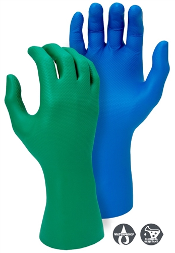 Majestic Glove 3352AB / 3352AG Super Grip Industrial Grade Disposable Nitrile Gloves, Powder Free, 8 Mil, Case/ 10 Boxes- 240 Gloves