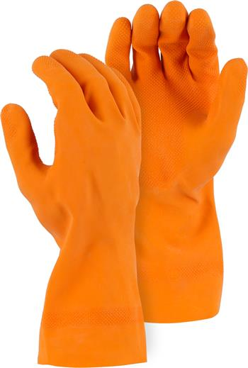 Majestic 3355 Heavy Duty Latex Gloves, Flock lined 30 mil, 13 inch, Diamond Grip, Orange, Box/12 Pairs