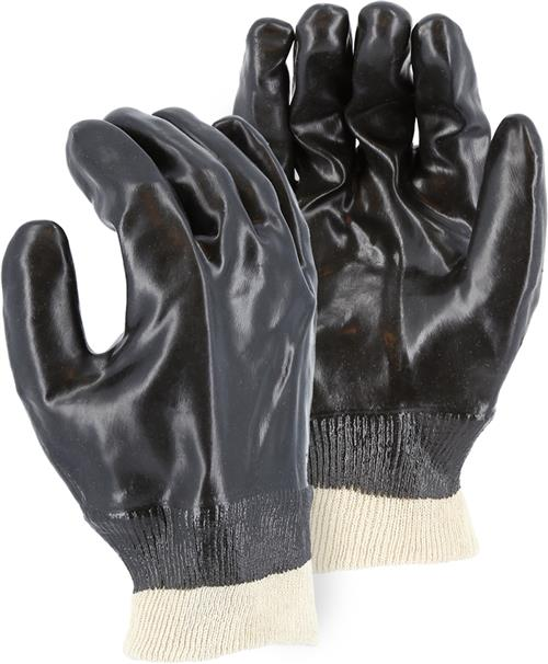 Majestic 3361 Chemical Resistant Gloves, Smooth Finish, Black PVC Glove with Knit Wrist