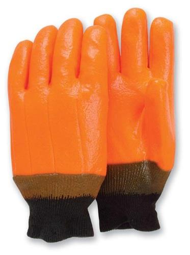 Majestic 3370 PVC Dipped Gloves, Fluorescent Orange, Knit Wrist, Smooth Finish, Foam Lined, Large, Box/12 Pairs