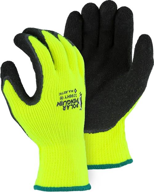 Majestic 3396HY Polar Penguin Winter/Freezer Gloves, Lined Heavyweight Napped Terry Knit, Latex Coated Palm, Cut Level A2, Hi Vis Yellow/Black, Box/12 Prs