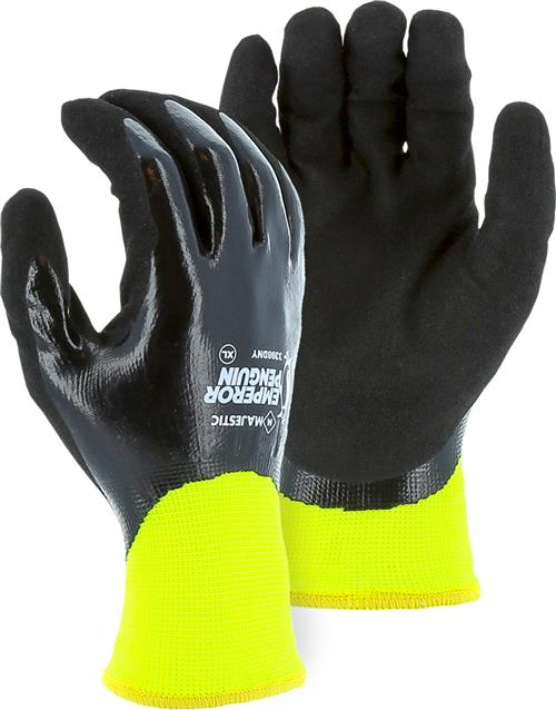 Majestic 3398DNY Emperror Penguin Waterproof Winter/Freezer Gloves, Full Closed Cell Nitrile Dip with Sandy Palm, 15 Gauge Outer Shell, 10 Gauge Acrylic Liner, Hi Vis Yellow/Black, Box/12 Prs