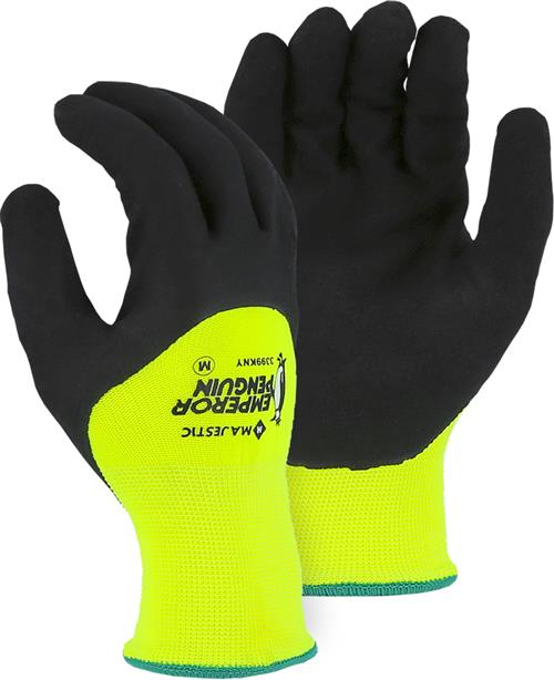 Majestic 3399KNY Emperor Penguin Waterproof Winter/Freezer Gloves, 3/4 Sandy Nitrile Dip Palm, 15 Gauge Nylon Outer Shell, 10 Gauge Acrylic Liner, Hi Vis Yellow/Black, Box/12 Prs