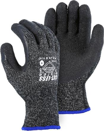 Majestic 34-1570 Winterlined Dyneema Gloves, Latex Palm, Acrylic Lined, Cut Level 5, Black