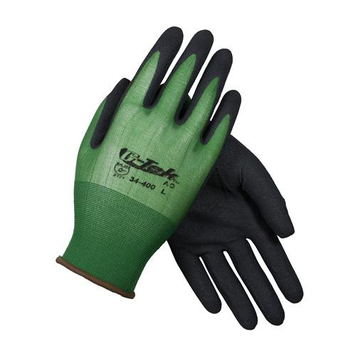 PIP 34-400 G-Tek GP Seamless Knit Nylon Glove with Nitrile Coated MicroSurface Grip on Palm & Fingers - 18 Gauge -  Box/12 Pairs
