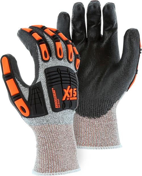Majestic 34-5337 Knucklehead X-15 Cut Resistant Gloves, Polyurethane Palm Dipped, Impact Resistant, ANSI Cut Level A2, Box/12 Pairs