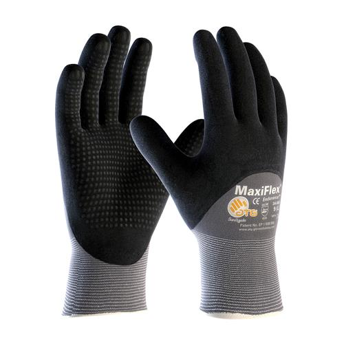 PIP 34-845 MaxiFlex Endurance Seamless Knit Nylon Glove with Nitrile Coated MicroFoam Grip on Palm, Fingers & Knuckles - Micro Dot Palm -Box/12 Pairs