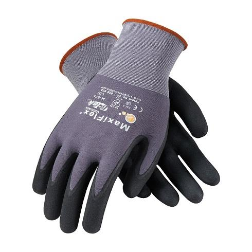 PIP 34-874 MaxiFlex Ultimate Seamless Knit Nylon / Lycra Glove with Nitrile Coated MicroFoam Grip on Palm & Fingers - Box/12 Pairs