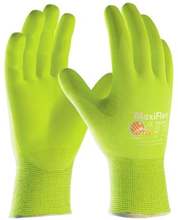 PIP 34-874FY MaxiFlex Ultimate Seamless Knit Nylon / Lycra Glove, Nitrile Coated MicroFoam Grip on Palm & Fingers, Hi Vis Yellow - Box/12 Pairs