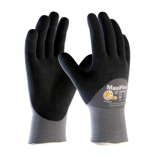 PIP 34-875 MaxiFlex Ultimate Seamless Knit Nylon / Lycra Glove with Nitrile Coated MicroFoam Grip on Palm, Fingers & Knuckles - Box/12 Pairs